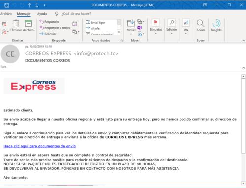 Virus por email: cuidado con este email de correos express