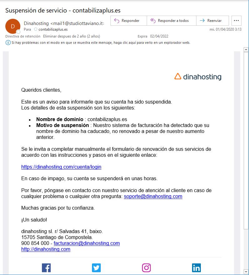correo electrónico engañoso